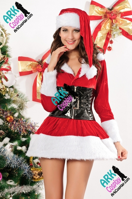 christmas costumes stretch velvet lingerie costume red womens christmas dress