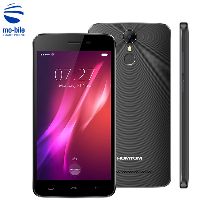 Original Homtom HT27 5.5 '' Android 6.0 MTK6580 Quad Core 3G Mobile Phone 1.3GHz 1GB RAM 8GB ROM 8MP Fingerprint Smart Cellphone