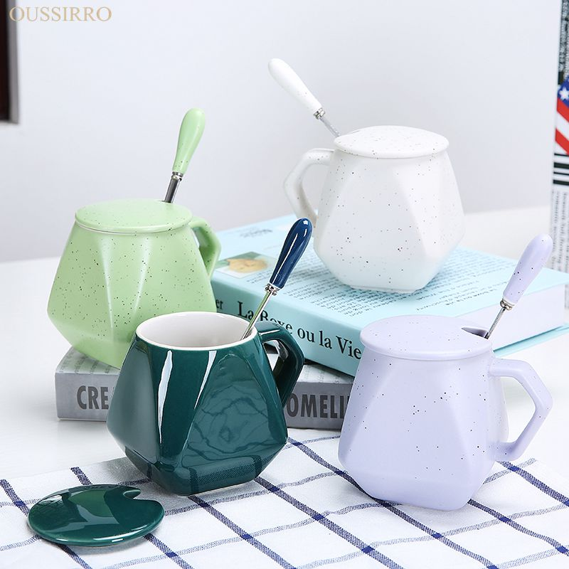 OUSSIRRO Many styles to choose creative contracted glass ceramic cup of milk coffee cup mug spoon personality breakfast cup with