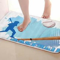 Baseball Style Bathroom Mat Funny Anti Skid Bath Mat Shower Curtains Accessories Matching Your Shower Curtain