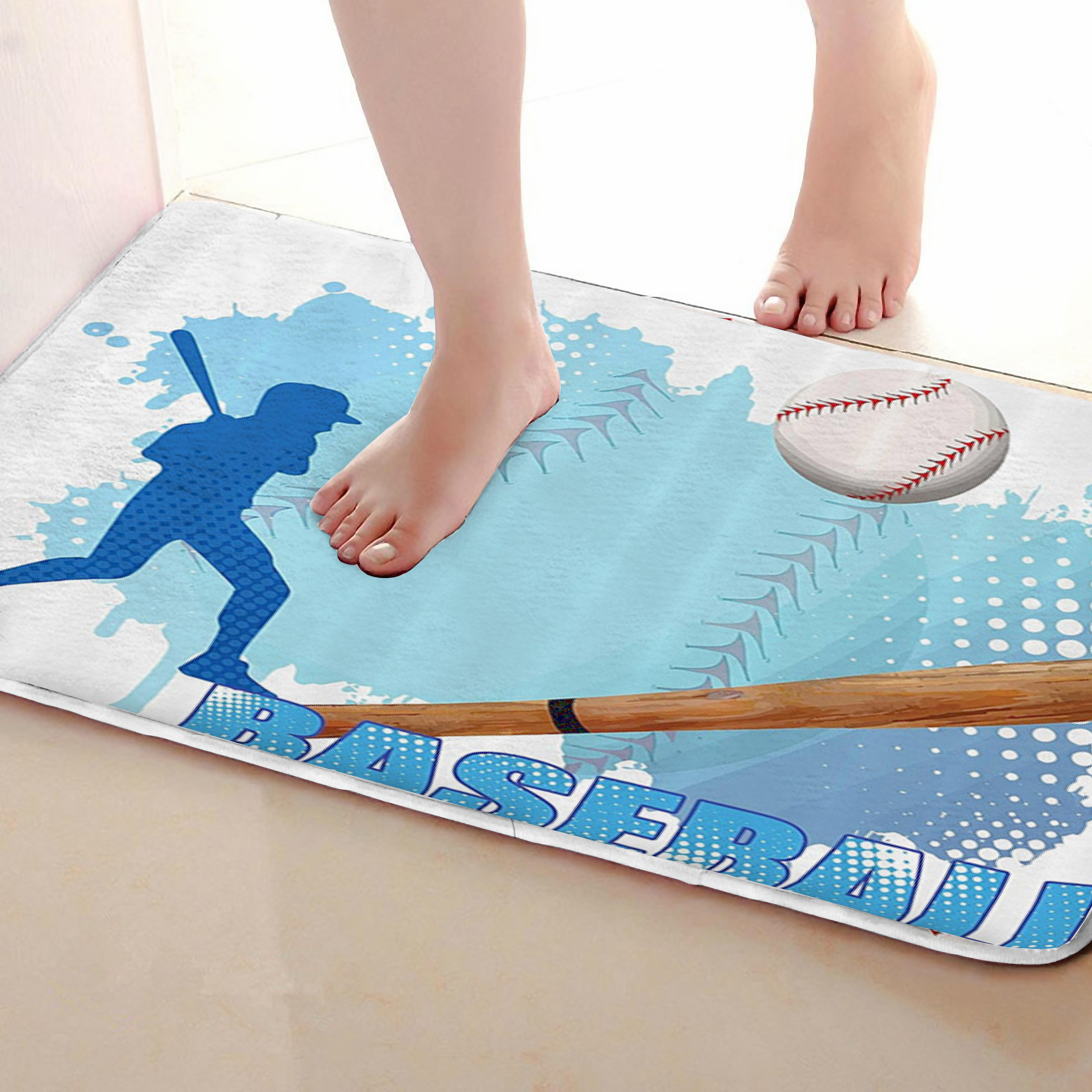 Baseball Style Bathroom Mat,Funny Anti skid Bath Mat,Shower Curtains Accessories,Matching Your Shower Curtain