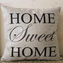 Funda de almohada de lino y algodón decorativa para el hogar con letras Vintage de color negro fácil, funda de almohada gris textil hogareño de lujo para la cintura