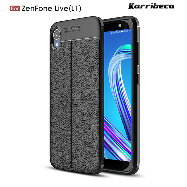 f7996530e17 Litchi silicone case for Asus Zenfone Live (L1) ZA550KL (5.5 inch) funda  carcasa lychee leather tpu cover coque etui tok kryt