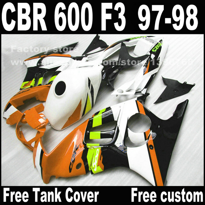 Motorcycle parts for HONDA CBR 600 F3 fairings 1997 1998 CBR600 F3 97 98 brown white fairing kit  W9