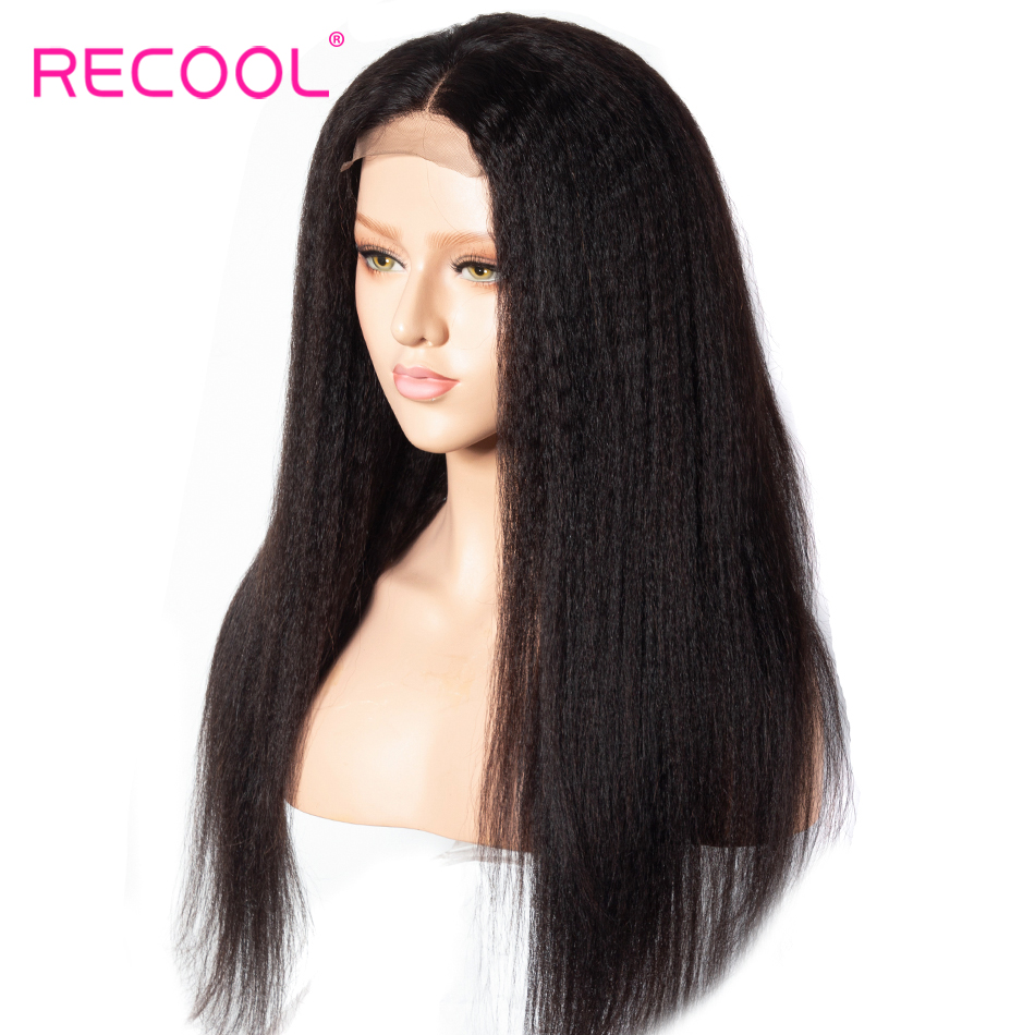 Recool Kinky Straight Wig Pre Plucked Full Lace Human Hair Wigs for Black Women Remy Brazilian
