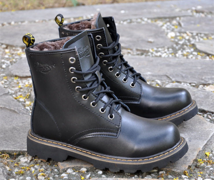 655b9e066fa Aleader 2016 Spring Winter Leather Men Boots Fashion Men Fur Shoes Warm  Outdoor Snow Shoes Martin Black Boots Botas Masculinas-in Motorcycle boots  from ...