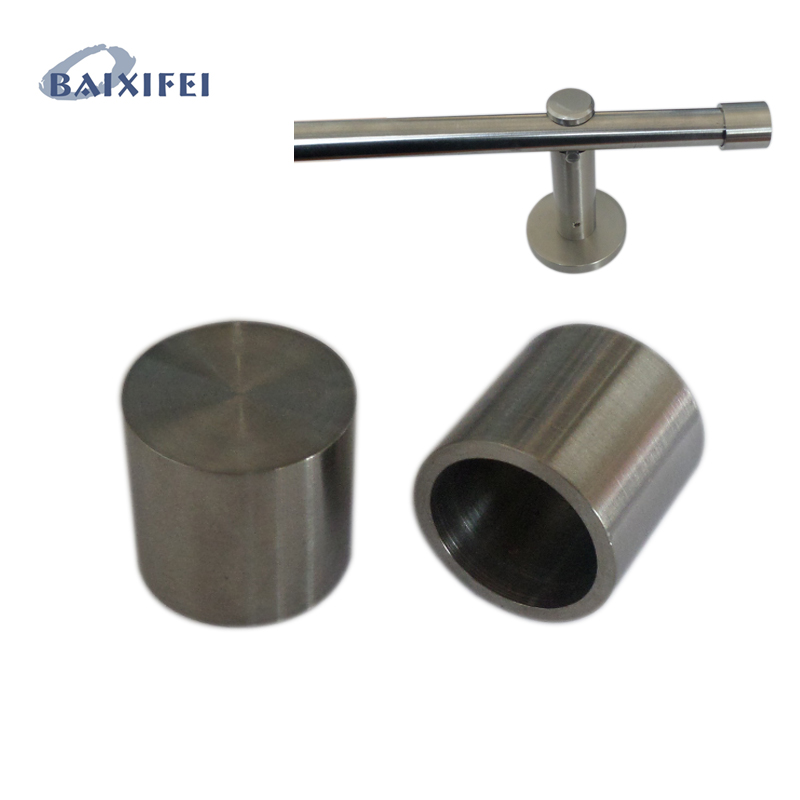 D16mm Curtain Rod Stainless Steel Decorative Head Short Sleeve, Curtain Accessories Finials for Window Decoration