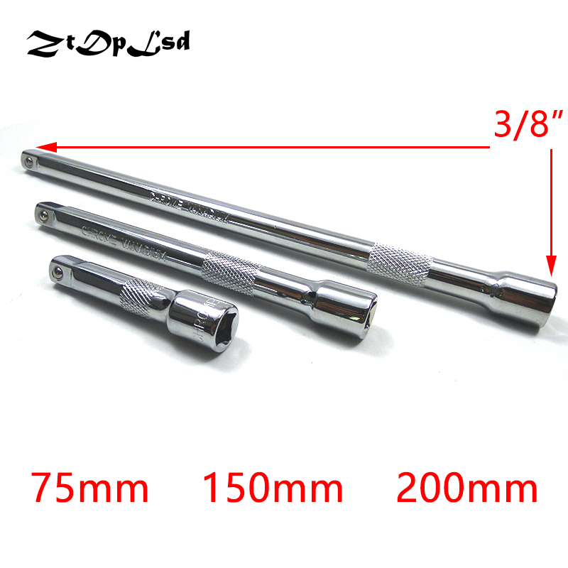 ZtDpLsd 3/8 Sleeve Rod Vanadium Steel Socket Extension Ratchet Wrench Hex Key Adapter Extra Long Hand Tools Driver 75-150-200mm 12pcs ratchet wrench socket spanner set hardware vanadium chrome vanadium steel repairing kit hand tools set fuli
