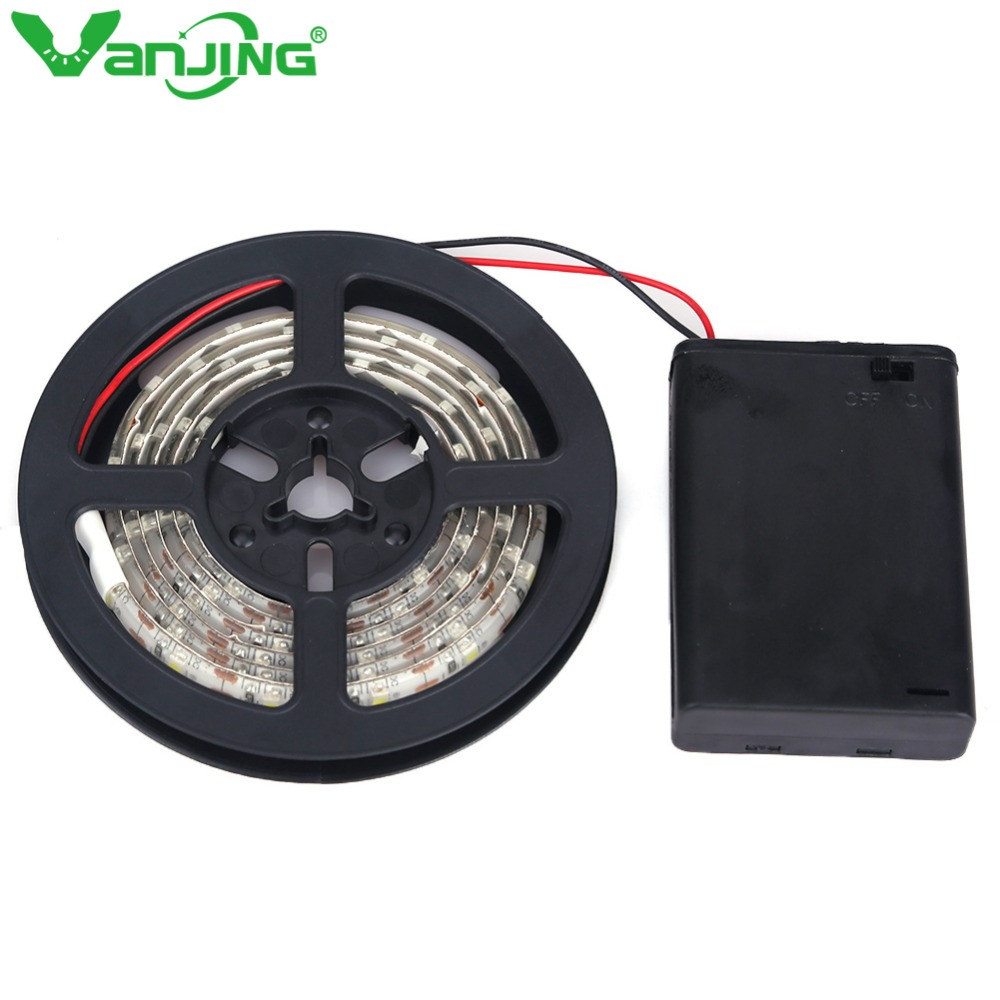 Battery Powered LED Strip Light IP65 Waterproof <font><b>3528</b></font> SMD 2M 1M 0.5M LED Tape with Battery Box <font><b>Cool</b></font> <font><b>White</b></font>/Warm <font><b>White</b></font>/RGB