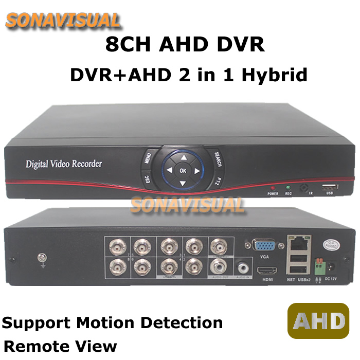 ФОТО 8CH AHD DVR H.264 8 Channel AHD DVR 2in1 Hybrid With P2P PTZ DVR+AHD Support Motion Detect Remote View For CCTV Security System