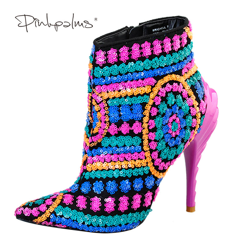 Pink Palms Shoes Women boots sequined cloth fuchsia bling paillette shoes high heels pointed toe boots sexy ankle boots