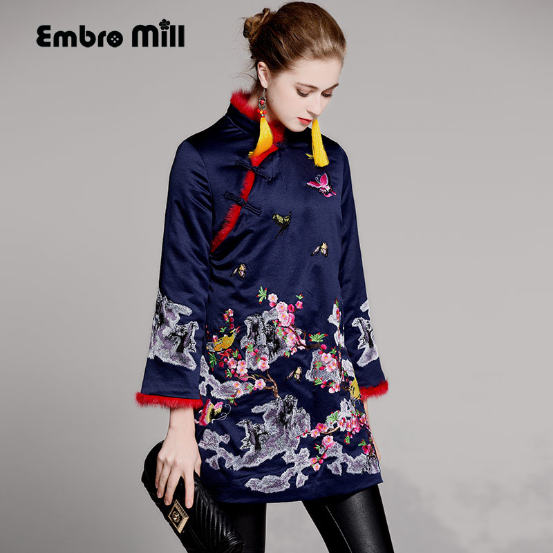 1540d885f High quality womens tops autumn winter Chinese style royal embroidered  floral short thick vintage warm coat jacket female S-XXL