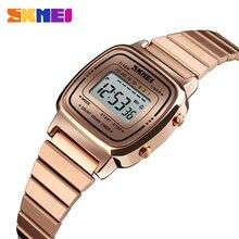 SKMEI النساء الرياضة الساعات الذهب السيدات عادية ساعة اليد LED الإلكترونية ساعة رقمية 5ATM مقاوم للماء الساعات Relogio Feminino