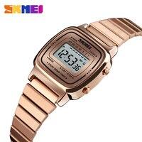 Skmei esporte feminino relógios de ouro senhoras casual relógio de pulso led eletrônico digital 5atm relógios à prova dwaterproof água relogio feminino|Relógios femininos| |  -