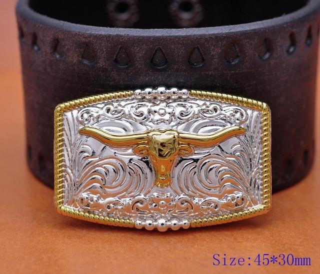 5pc 46*30mm américain WESTERN TEXAS COWBOY COWGIRL taureau corne TACK or argent LONGHORN corde cheval selle cuir artisanat CONCHO ensemble