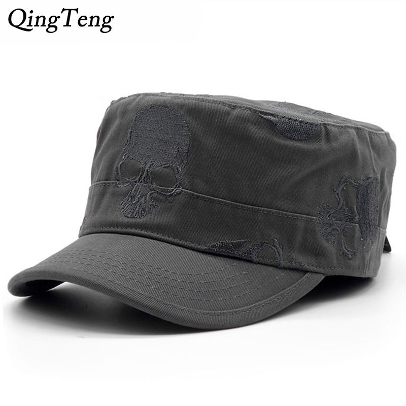 8f664970da1 High Quality Men Vintage Flat Top Caps Embroidery Skull Military Hats  Luxury Casual Women Baseball Hat Cotton Black Army Cap-in Military Hats  from Apparel ...