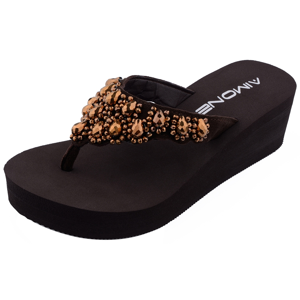 AIMONE Women Slippers Casual New Rhinestone Beach Sandals Wedge Platform Thongs  Slippers Flip Flops Flip Flop Female Shoes -in Flip Flops from Shoes on ... a2964b46e41e