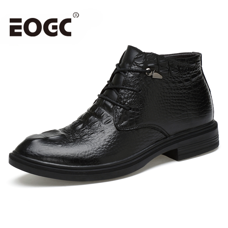 Size 35-48 Cow Leather Men Winter boots Handmade Genuine Ankle Boots Autumn Shoes Snow