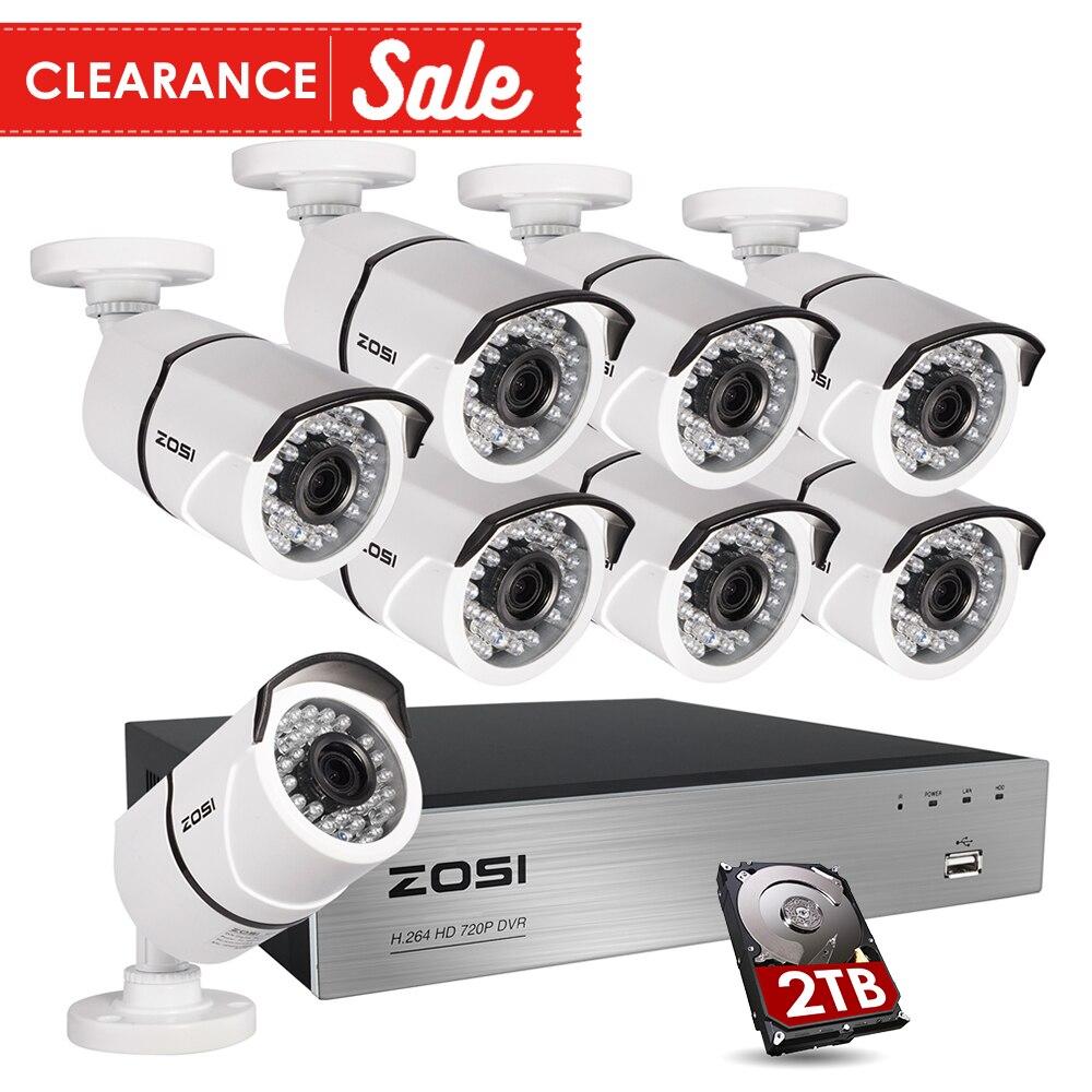 ZOSI HD 2MP Vidéo Surveillance CCTV Système 8CH Full HD 1080 p HD TVI AHD DVR Kit 8*1080 p En Plein Air Caméra de Sécurité Système 2 tb