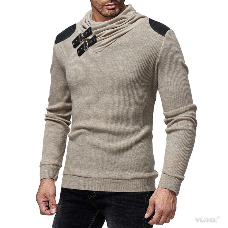 Sweater Men 2018 Autumn Winter Warm Brand Male Long Sleeve Skin Buckle Solid Color Hooded Mens Heaps Collar Knitted Sweater