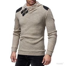 Sweater Men 2018 Autumn Winter Warm Brand Male Long Sleeve Skin Buckle Solid Color Hooded Mens Heaps Collar Knitted