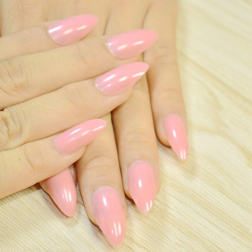 Pfirsich Rosa Candy Stiletto Gefälschte Nagel DIY Nail art Volle ...