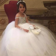 Luxury High Quality Flower Girls Dresses for Weddings Puffy Tulle Beading Crystal Girls First Communion Dresses Pageant Gown luxury 2017 first communion dress puffy flower girl dresses for weddings little girls pageant dresses free shipping