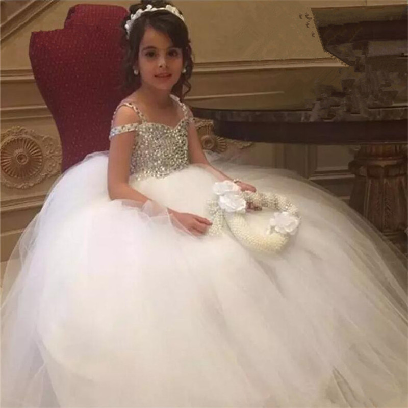 Luxury High Quality   Flower     Girls     Dresses   for Weddings Puffy Tulle Beading Crystal   Girls   First Communion   Dresses   Pageant Gown