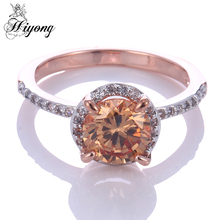 HIYONG Sparkling Engagement Ring Round Red and Champagne Cubic Zirconia Skinny Shank Semi Eternity Band Two Tone Plated Jewelry(China)