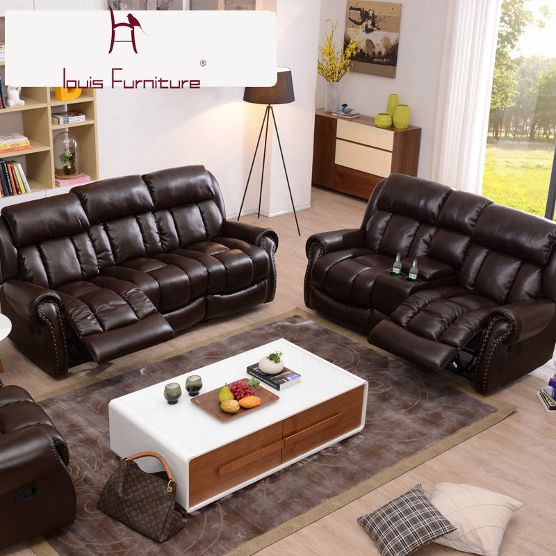 First Class Cabin Sofa Leather Combination Family Cinema Multifunctional  Living Room Electric Chivas in Sofas from Furniture on