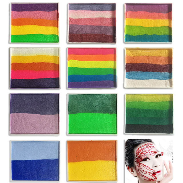 body paint face paint rainbow makeup pigment gset color painting water based split cake
