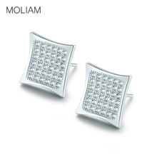 b1cc28ca77b2 Moliam marca famosa brincos pendiente color plata joyería crytal blanco  zirconia cuadrado Pendientes de broche para las mujeres .