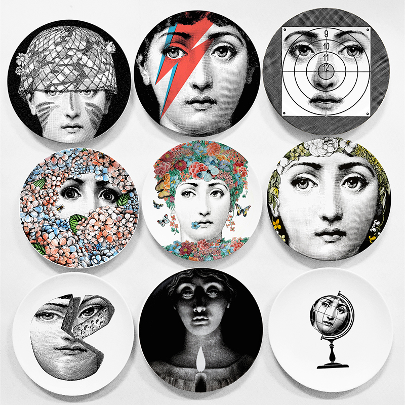 european milan style gorgeous rare fornasetti plates lina lightbulb face piero fornasetti wall hanging decorative 8 - Decorative Wall Plates