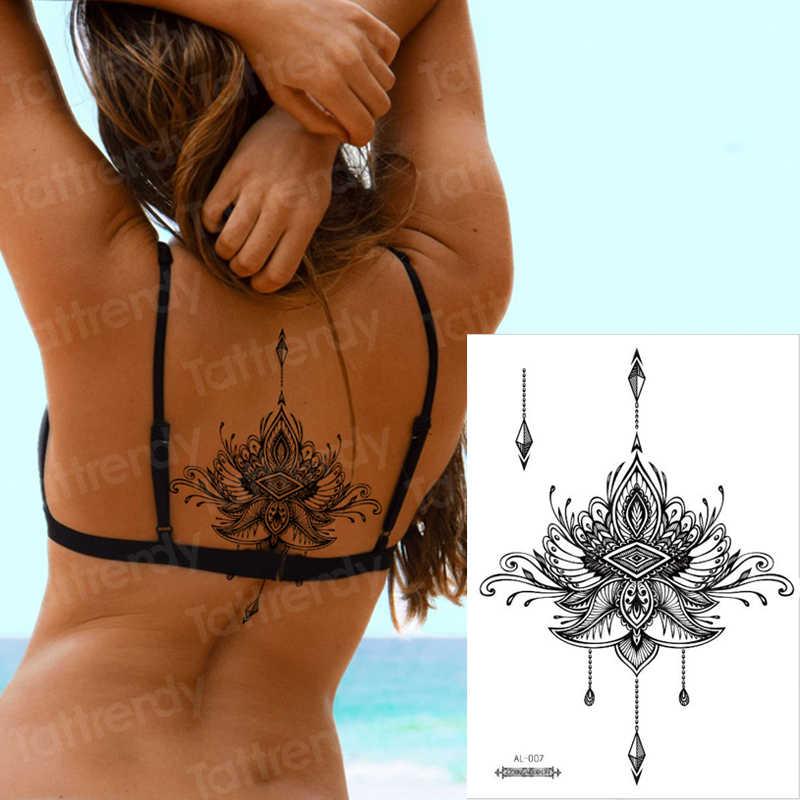 กันน้ำชั่วคราวสติกเกอร์เรขาคณิต dragonfly Sternum Tattoo สีดำสามเหลี่ยมรอยสักแขนปลอม Tatoo โซ่ Sternal patch