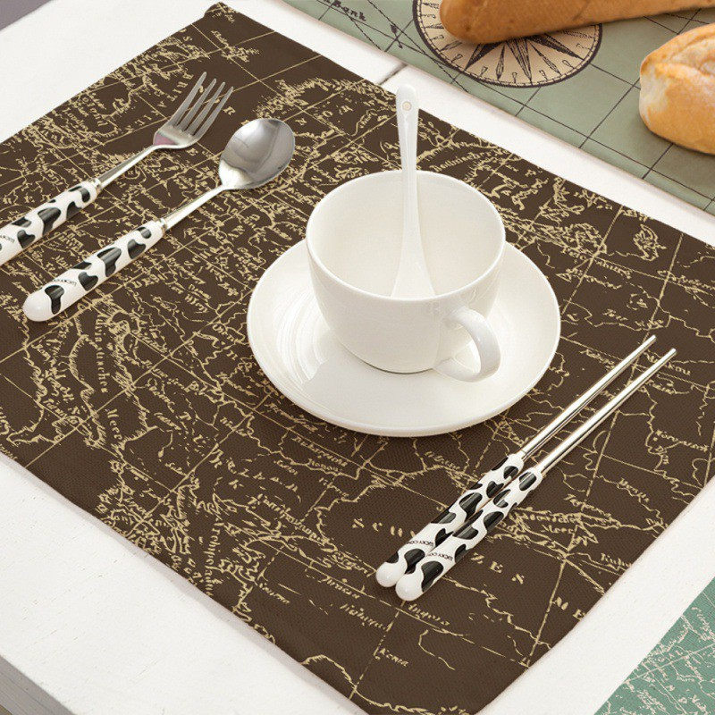 New World Map Printing Cotton Linen Napkin Table Cloth Placemat Mat Pads Home Restaurant Wedding Napkin Washable Placemats