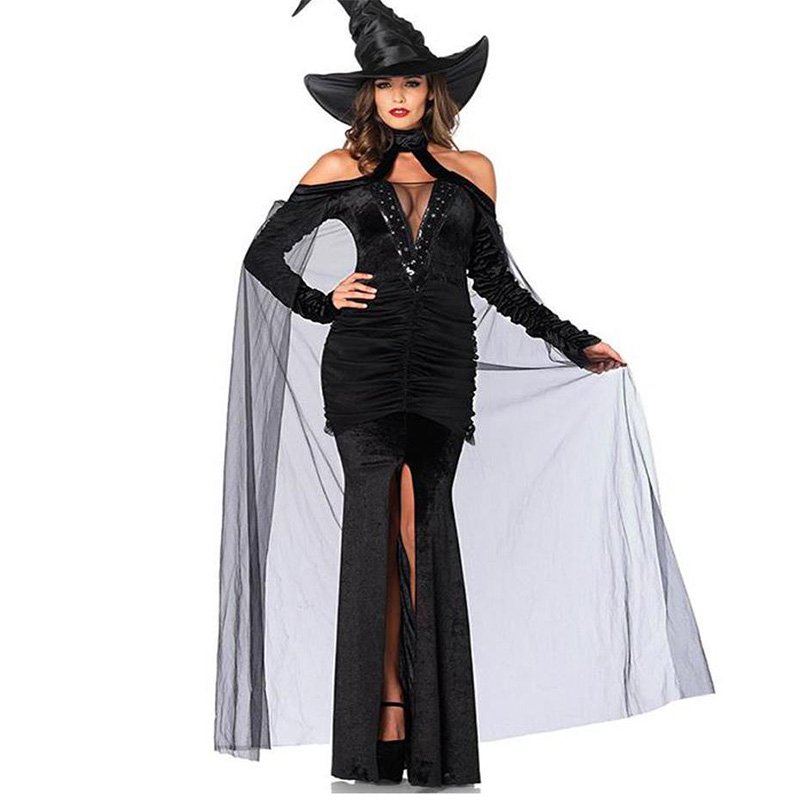 High Quality Adult Witch Halloween Cosplay Dress Black