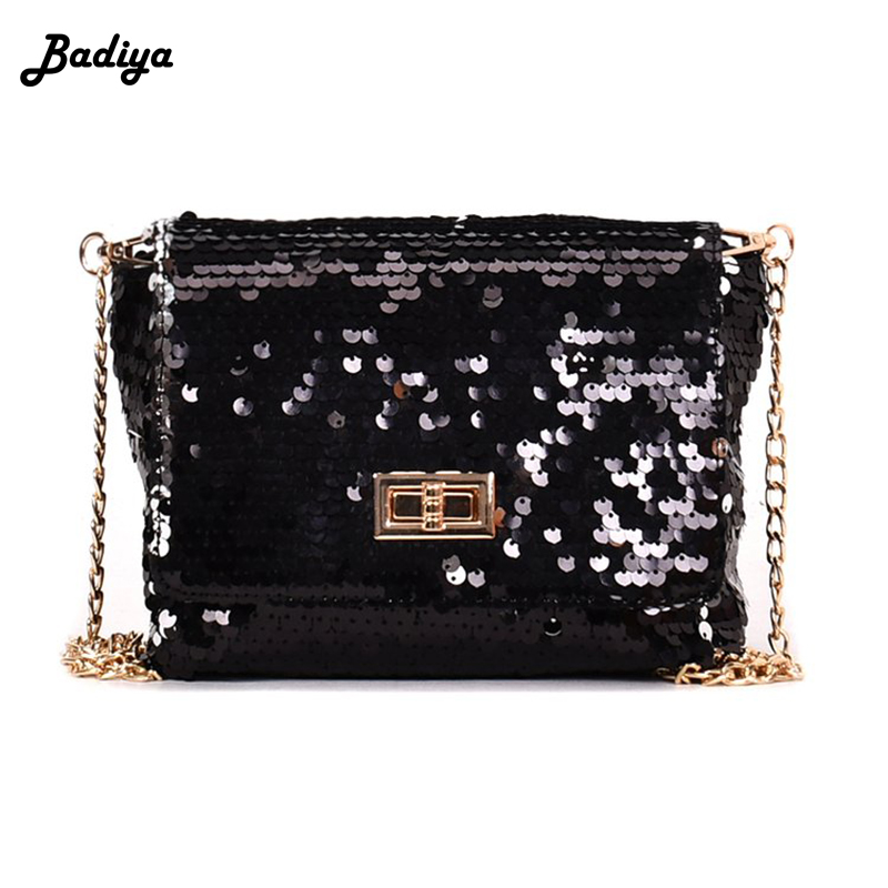 Fashion Women Sequins Shoulder Bag Quality Leather Chain Ladies Flap Bag Chain Strap Crossbody Bags Female Bolsa