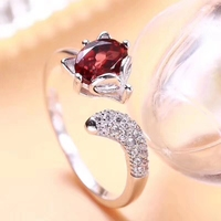 Elegant lovely Fox Natural red garnet Ring Natural gemstone Opening Adjustable ring S925 silver women party girl gift Jewelry