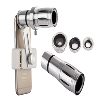 Universal 12X Zoom Mobile Phone Telescope Lens 4in1 lens Telephoto External Smartphone Camera Lens for iPhone Sumsung HTC Huawei
