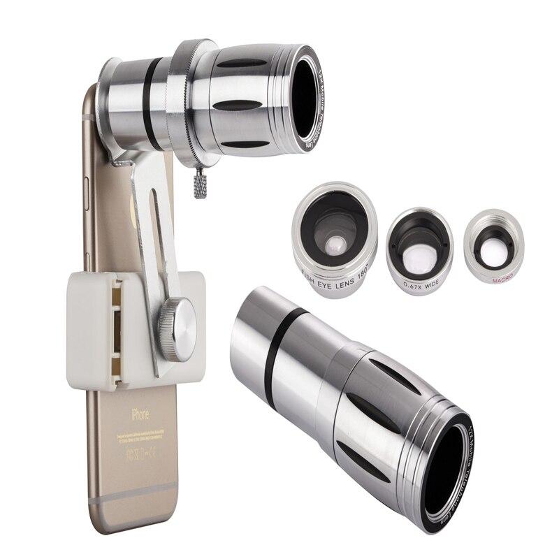 imágenes para Universal lente 4en1 12x zoom telescopio del teléfono móvil teleobjetivo smartphone lente de la cámara externa para iphone sumsung htc huawei