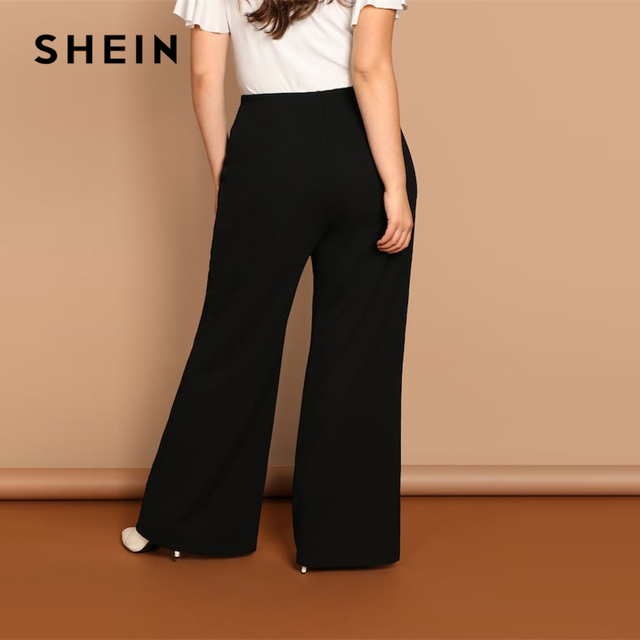 SHEIN Black Plus Size Plain Loose Wide Leg Long Pants Women Office Lady Minimalist 2019 Spring Fashion Solid Trousers 1