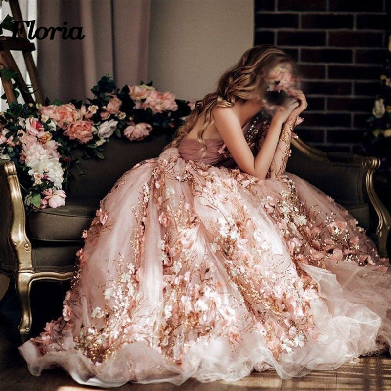 Luxury 3D Flower Pink   Evening     Dresses   Abiye Arabic Muslim Beaded Formal Prom Gowns Abendkleider robe de soiree longue 2018