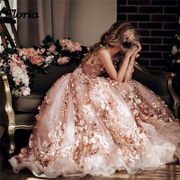 Luxury 3D Flower Pink Evening Dresses Abiye Arabic Muslim Beaded Formal Prom Gowns Abendkleider robe de soiree longue 2018