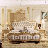 2018 Rose Gold Master Bedroom Bed King Size European Style Soft Bed, Luxury Carved French Leather Bed Royal Wedding Bed MB A016