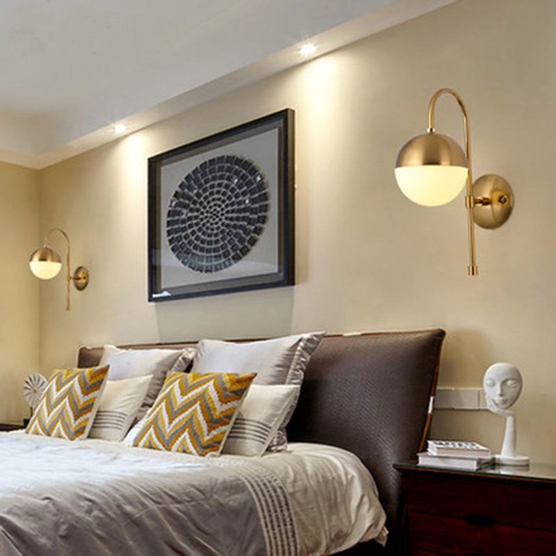 Nordic Loft Golden LED Wall Lamp Glass Ball Bathroom Mirror Light American Retro Study Bedside Wall Sconce Free Shipping nordic loft designers study bedside lamp american country retro style queen double mechanical arms industry bar wall sconce lamp