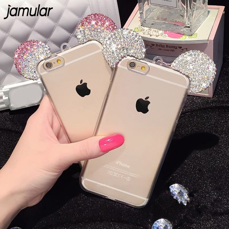 JAMULAR Diamond Mickey Mouse Case For iPhone 6 6S 8 Plus Rhinestone Soft Transparent Cle ...