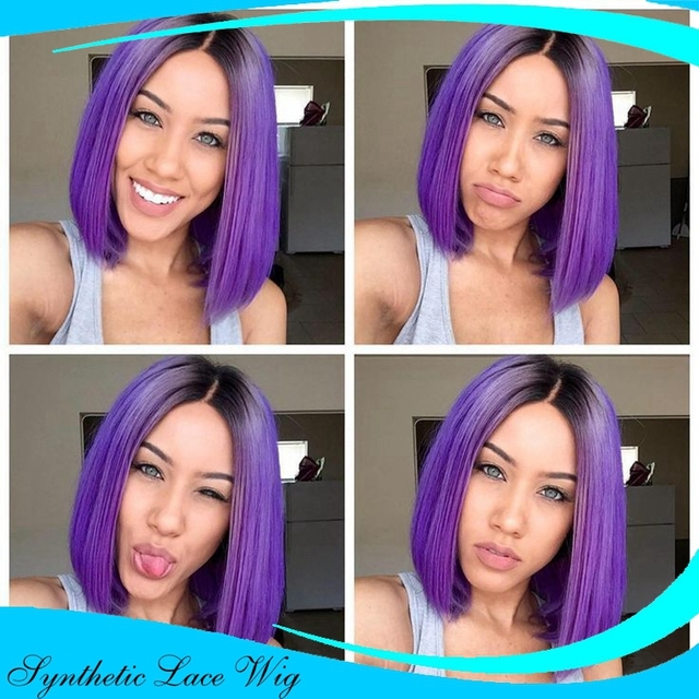 Ombre 1b Light Purple Hair Lace Front Wig Bob Straight Style Middle
