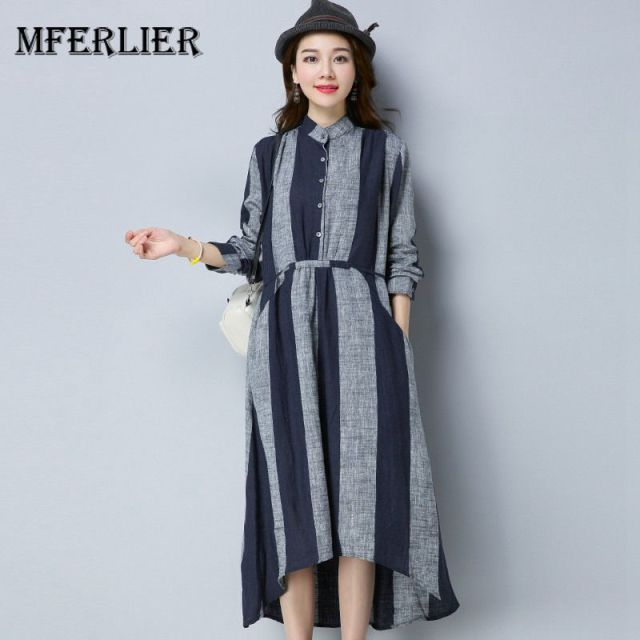 f8e175b30c5 Mferlier Women Summer Shirt Dress Stand Collar Long Sleeve Drawstring Waist Artsy  Retro Wide Stripe Casual Dress