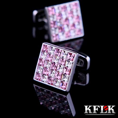 KFLK Luxury Shirt Cufflink Mens Gift Brand Cuff Button Pink And  White Crystal Cuff Link High Quality Abotoaduras Jewelry