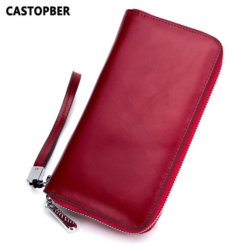Women Fashion Long Zipper Wallet Cow Genuine Leather Oil Wax Card Holders RFID Anti-theft Purse Mens Clutch Wallets Handy Bags
